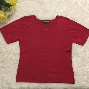 Salvatore Ferragamo Red Short Sleeve Blouse